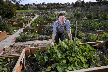 Kevin Heinze Grow CEO Josh Fergeus in the centre's garden.