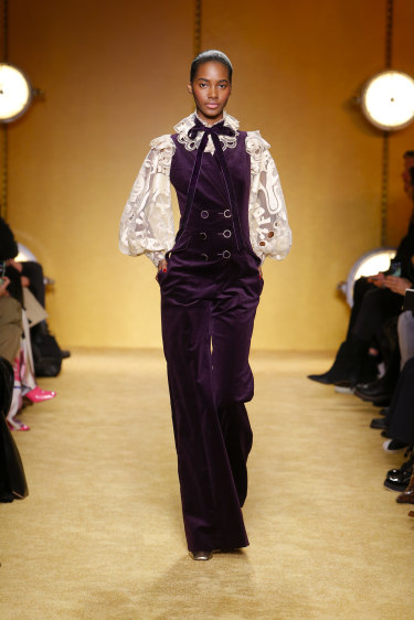 A Zimmermann velvet overall suit, seen on the Fall 2020 catwalk in February.