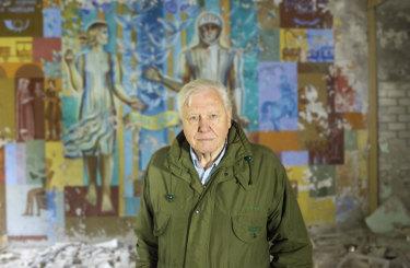 Sir David Attenborough in Chernobyl, Ukraine, filming his Netflix special.