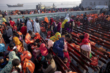 Unable to return to Myanmar for fear of persecution, these Rohingya refugees are on a Bangladesh navy vessel being moved from an overcrowded camp on the mainland to Bhasan Char island in late December.