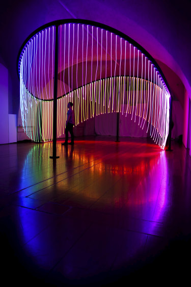 Full Spectrum, by Flynn Talbot is a light installation showing at the London Design Biennale showcasing Australia's gay marriage vote.