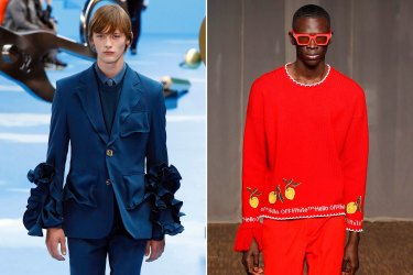 Genderless fragrances are on the rise, following in the footsteps of recent fashion collections that defy gender norms from the likes of, from left, Louis Vuitton and Off-White.