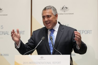 Joe Hockey releasing the last intergenerational report in 2015. Labor has signalled it would broaden the report's remit and release one more often.