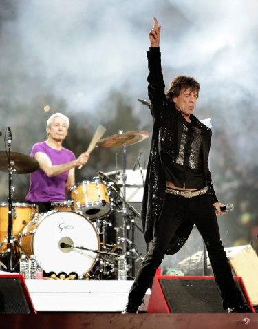 Charlie Watts and Mick Jagger perform at the Super Bowl in the US in 2006.