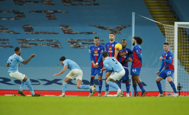 Raheem Sterling's spectacular free kick capped City's 4-0 demolition of Palace.