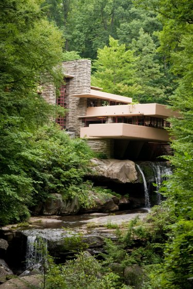 Frank Lloyd Wright's famous Fallingwater house in Pennsylvania, built in 1935.