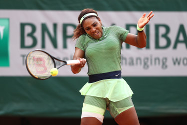 Serena Williams competes at the French Open 2021.