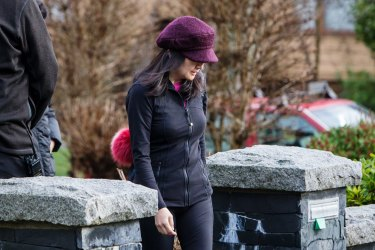 Meng Wanzhou, chief financial officer of Huawei Technologies Co., leaves her home while out on bail in Vancouver in January.