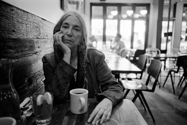 Patti Smith at her local coffee shop in SoHo, New York, in September, 2019.