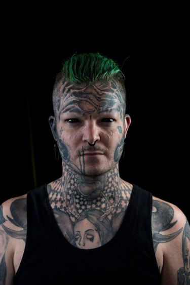 The Age, News 18/11/2016, picture by Justin McManus. Tattoo Convention at the Melbourne Exhibtion centre. People and their favorite tattoo. Mat Rogers, his favorite tattoo is his face and eyes.