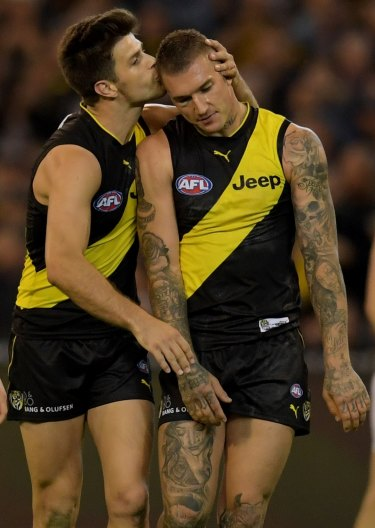 Dusty with Tigers captain and close friend Trent Cotchin.