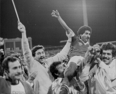 Celebrations for Qatar players and fans at the SCG, as they defeated England 2-1 in their semi-final.