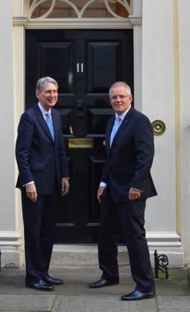 Chancellor of the Exchequer Philip Hammond and Treasurer Scott Morrison at 11 Downing Street.