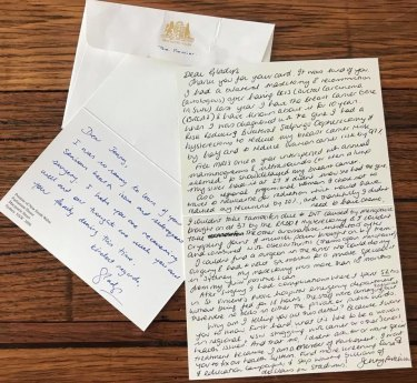The correspondence between Jenny Aitchison and Gladys Berejiklian.