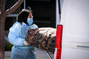 A body is removed from Epping Gardens Aged Care last year.