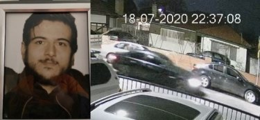 Adrian Pacione and a CCTV image of a car thought to be linked to the shooting