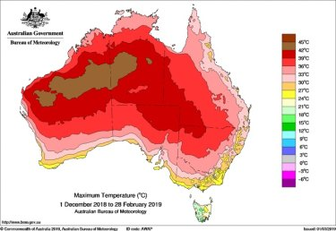 Mean maximum temperatures for December 2019-February 2019 beat the last summer record by almost one degree.