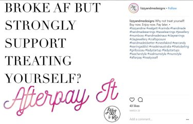 Advertisement stating that Afterpay is available when you have no money.