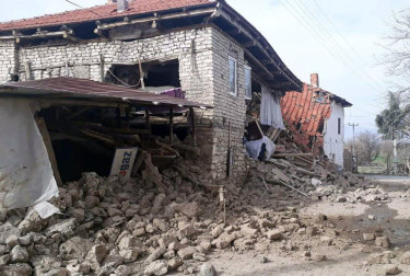 A damaged house in the town of Acipayam in Denizli province, southwestern Turkey,