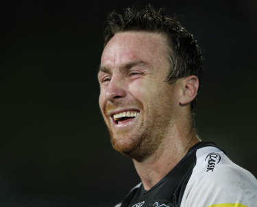 Quick wit: Panthers half James Maloney is always one to answer back.