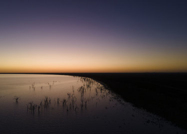 An aerial view of Lake Menindee at sunset, where conditions are the best in years.