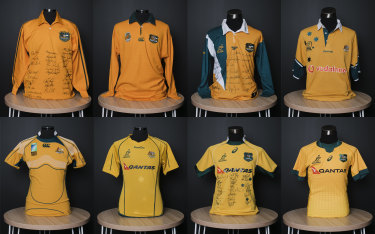 Wallabies jerseys from (top row, L-R) 1984, 1991, 1997, 1999, (bottom row L-R) 2007, 2010, 2015 and 2020.