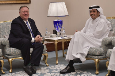 From left, U.S. Secretary of State Mike Pompeo meets with Qatar's Foreign Minister Sheikh Mohammed bin Abdulrahman Al Thani.