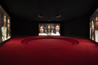 Angelica Mesiti, Assembly, 2019 (production still) three-channel video installation.