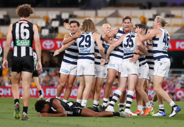 Geelong players celebrate.