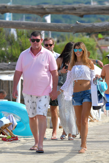 James Packer and Kylie Lim enjoying a bit of stress relief in St Topez.