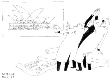 The outrage at the thought of a car park at the Sydney Opera House as seen through the eyes of illustrator George Molnar in 1966.