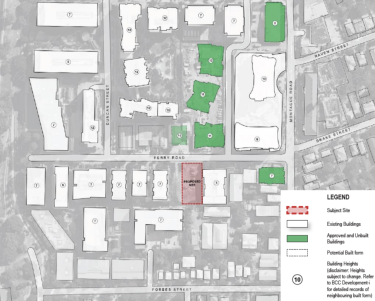 The proposed site pictured alongside other existing or approved buildings with their number of storeys.