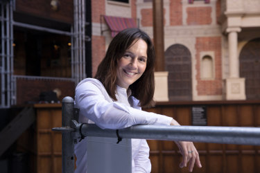 Katherine Shearer thrives in her role as company manager of Pop-up Globe, the world's first full-scale temporary working replica of Shakespeare's second Globe. She is pictured here on the Pop Up stage at EQ, Sydney.