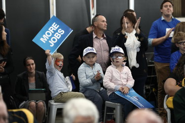 Very young Liberal supporters at a Liberal rally in Tasmania.