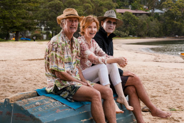 Party people: Bryan Brown, Jacqueline McKenzie and Richard E. Grant in Palm Beach.
