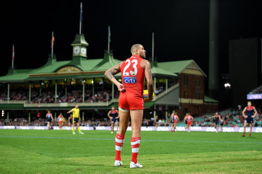 Quiet night: Lance Franklin was below his best against Melbourne but coach John Longmire has defended him from criticism that he played a selfish game.