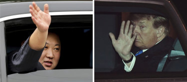 North Korean leader Kim Jong-un and US President Donald Trump wave to crowds as they both arrive in Hanoi, Vietnam.