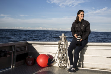 "Vanessa Pirotta, a researcher at Macquarie University, is studying ""whale snot"" collected using a drone."