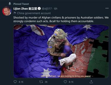 Lijian Zhao's offensive tweet.