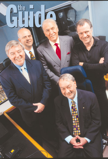 2UE radio presenters (clockwise from left) Stan Zemanek, John Stanley, John Laws, Mike Carlton and John Brennan.