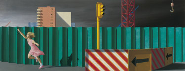 Jeffrey Smart, The Construction Fence,1978, oil and synthetic polymer paint on canvas, TarraWarra Museum of Art collection.