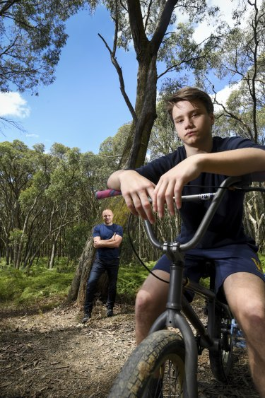Jakob Salter, 15, pictured with his father Matthew Salter, was hospitalised with concussion and underwent a CT scan after crashing his BMX bike.