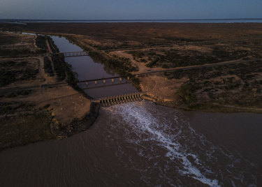 The Menindee Lakes are a system of nine large, shallow lakes in far-western New South Wales. There is now enough water to open the gates between Lake Pamamaroo and Lake Menindee.
