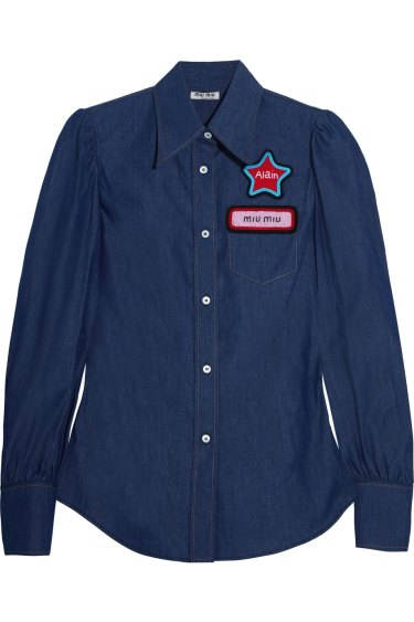 A shirt in the Miu Miu range that has been pulled from sale after comparisons were made between the star patch and the yellow star worn by Jews in Nazi Germany.