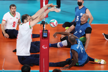Mehrzad blocks a shot in a match against Brazil this week.