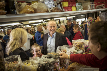 Opposition Leader Bill Shorten at the St Albans Market in Melbourne on Saturday.