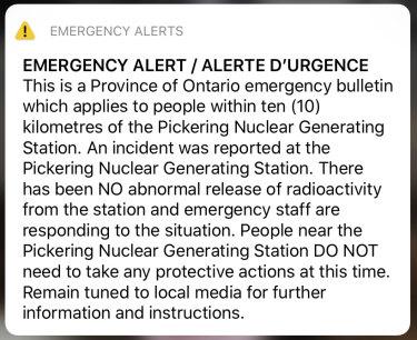 Many residents woke up to the alert on Sunday morning Canadian time.