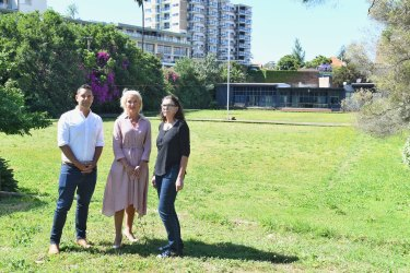 Alex Greenwich, pictured with Harriet Price and Melinda Hayton, at the site of the former Paddington Bowling Club.