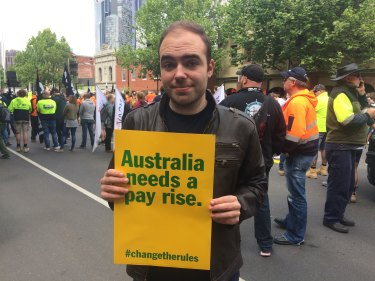 Tom Bell of Hawthorn at the union rally.