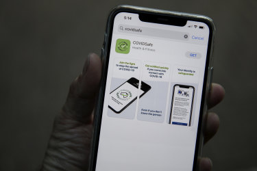 The COVIDsafe tracing app launched by the Australian government in response to the COVID-19 coronavirus pandemic seen on a mobile phone.